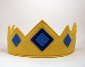 Wool Felt Crown -- royal crown with blue jewels
