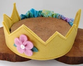 Wool Felt Crown -- golden yellow with pink flower