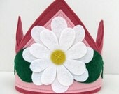 Wool Felt Crown --pink with white flower