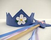 Wool Felt Crown and Wand --periwinkle and pink