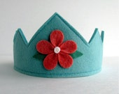 Wool Felt Crown-- aqua with cranberry flower