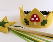 Woodland Crown and Wand Set -- mushroom and oak leaves