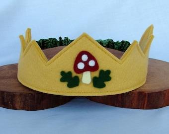 Woodland Crown-- wool felt crown with oak and mushroom motif