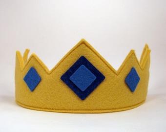 Wool Felt Crown -- royal crown with blue jewels
