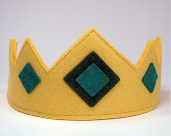Wool Felt Crown -- royal crown with green jewels