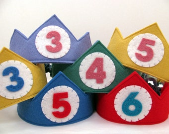 Wool Felt Birthday Crown -- custom made with the number or letter of your choice