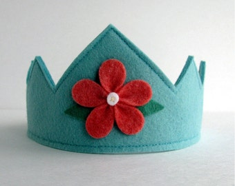 Wool Felt Crown-- aqua with cranberry flower