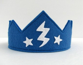 Wool Felt Crown -- blue with lightening and stars