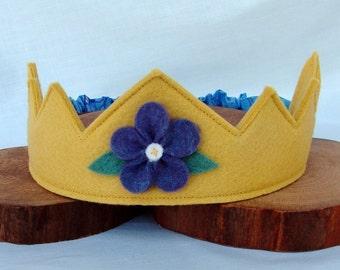Wool Felt Crown -- golden yellow with purple flower