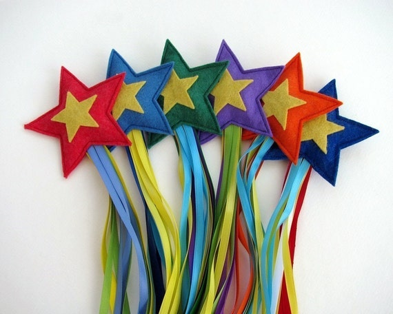 Three Shooting Stars -- Wool and ribbon toys for throwing, chasing and catching