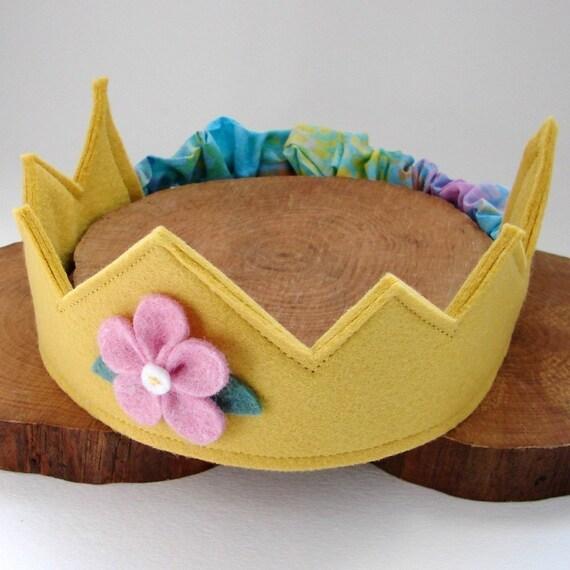 Wool Felt Crown -- golden yellow with pink flower