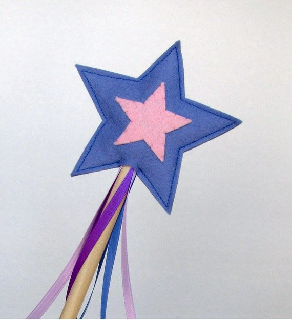 Wool and Wood Magic Wand -- periwinkle and pink
