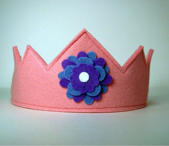 Wool Felt Crown -- pink with violet flower