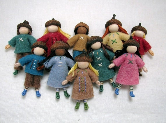 Acorn Cap Dolls-- set of six little woodland dolls