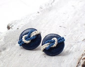 Nautical Earring - Navy Blue White - Post Earrings, tiny earrings, summer jewerly, beach jewelry