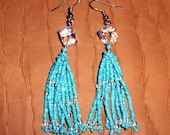 Native American Beaded Earrings (Crystal Cube, Turquoise and Crystal Seed Beads)