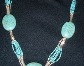 Native American Beaded Necklace:  Turquoise Gemstones and Beads