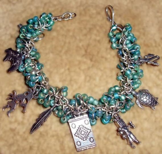 Native American Beaded Bracelet (Handmade Medicine Bundle Chain Maille Charm)