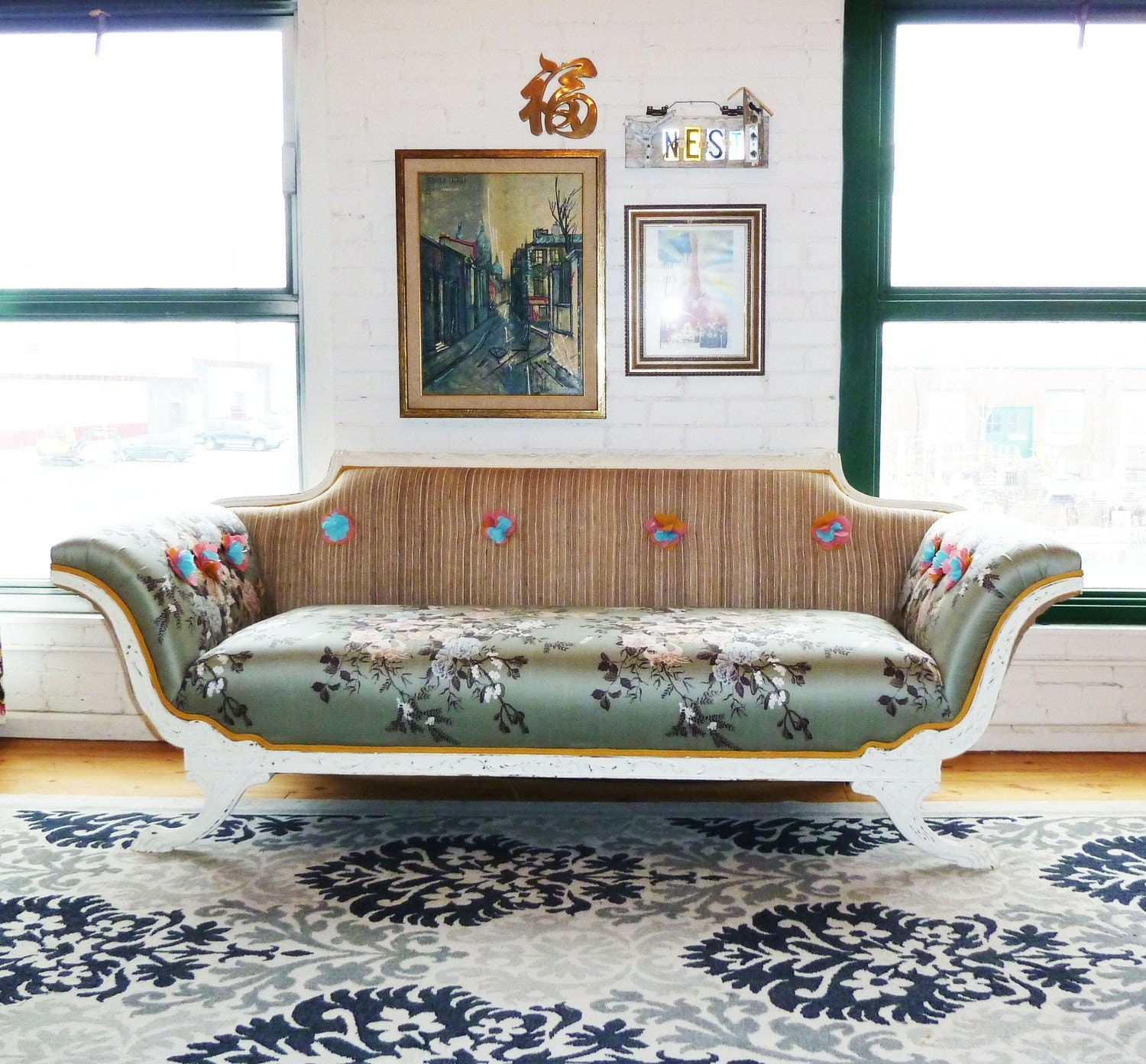 Hold For Kelly Empire Style Claw Foot Distressed Sofa By