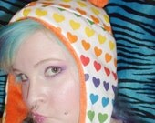 rainbow color  hoodie fleece punk AVIATOR ear flap HAT anime cosplay goth