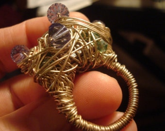 Wire Wrapped Lavendar and Peridot Green Crystal Ring