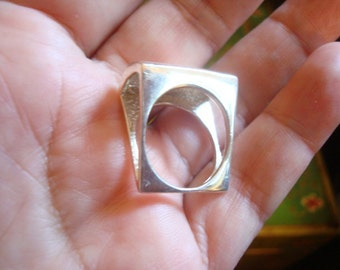 Divine Geometric Squared Sterling Ring from Turkey