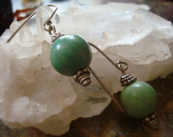 Sweet Smooth Turquoise and Sterling Bead Earrings