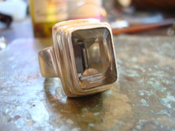 Chunky Smoky Quartz Rectangular Cut Sterling Ring