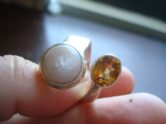 Adjustable Coin Pearl and Citrine Sterling Wrap Ring