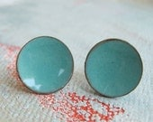Turquoise Stud Earrings- Large studs - Colorful Enamel Earrings -  Turquoise Earrings Modern Jewelry