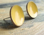 Dijon Post Earrings - large stud - handmade golden mustard enamel concave dish earrings