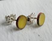 Post Earrings - Dijon Mustard Yellow Post Earrings - small stud - handmade copper enamel jewelry