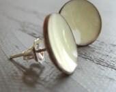 Ivory White Enamel Post Earrings - large studs - handmade creamy white enamel concave dish stud earrings