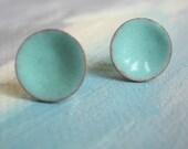 Stud Earrings Seafoam blue - Medium - Handmade Ocean Turquoise Enamel on Silver Post Earrings