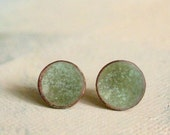 Sage Green Earrings Post - Medium - Moss color Enamel Jewelry - organic earthy jewelry