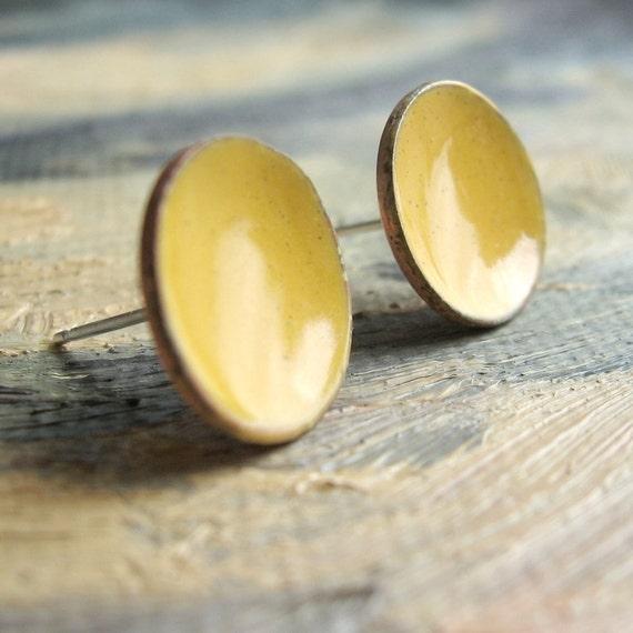 Dijon Post Earrings - large stud - handmade golden mustard enamel concave dish earrings