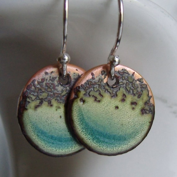 Organic Blue Aqua--- handmade turquoise ocean enamel on copper and sterling silver small hoops earrings