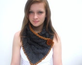 Gray Scarf with Cables, Caramel Trim and Faux Wood Button. Handknit. Charcoal Gray