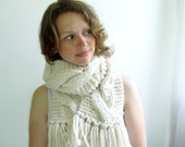 Cream Scarf. Fishermans Chunky Handknit.  Long. Handknit. Classic Cabled. With or Without Fringes.