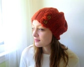 Handknit Hat in Cinammon Rust. Alpaca and Wool. Slouchy Beanie Flapper Style with Buttons.