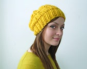 Sunflower Yellow Handknit Alpaca Hat. Slouchy, Lacy, Soft and Cozy.