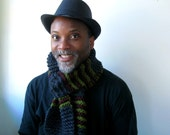 Mens Handknit Dark Gray Scarf with Moss and Wine Stripes