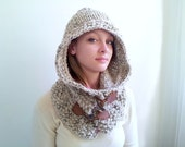 Neutral Beige Hoodie. Chunky Handknit. Hooded Scarf. Leather and Toggle Closures