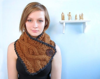 Caramel Brown Scarf with Cables. Handknit in Chunky Yarn with Charcoal Gray Trim.