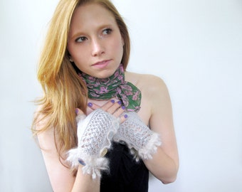 Light Gray Fingerless Gloves. Lacy Mitts in Silver Gray Cotton with Cute Mohair Ruffles. Fall Fashion.