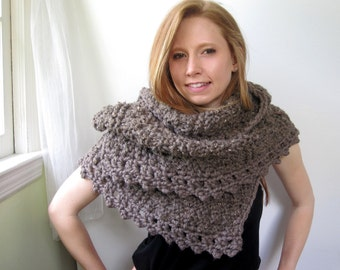 Brown Knitted Shawl with Crochet. Modern. Chunky. Women. Soft. Cozy. Warm.