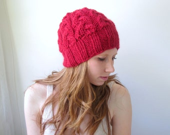 Red Handknit Hat in Alpaca and Wool. Cabled, Chunky. Cozy Winter Hat.