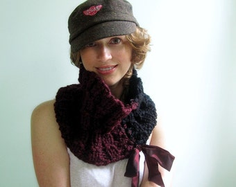 Wine and Black Cowl. Ribbed Cables, Handknit Chunky. Two -Tone Mod. High Fashion Neckwear.