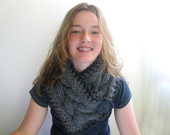 Cozy Winter Scarf - Scarflette. Handknit Cabled in Classic Gray. Alpaca and Wool.