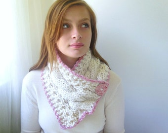 Cream Scarf with Cables and Baby Pink Trim. Handknit. Chunky Scarflette. Ivory, Winter White
